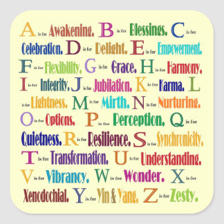 ABC's of positives Square Sticker