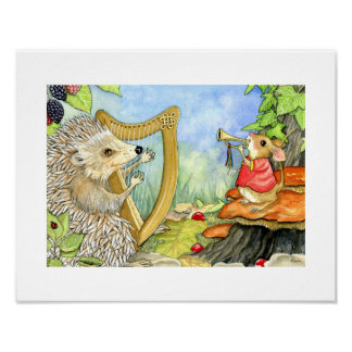 ABC's print - Harcourt Hedgehog and his harp.