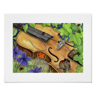 ABC's print of Virkie Vole and his violin