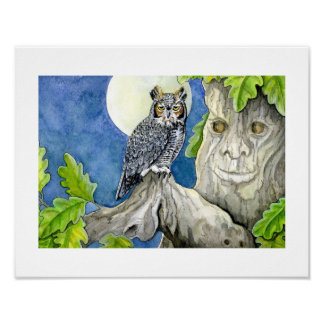 ABC's print - Orville Owl and the Old Oak.