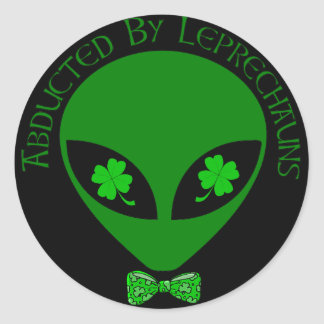 Abducted By Alien Leprechauns Classic Round Sticker