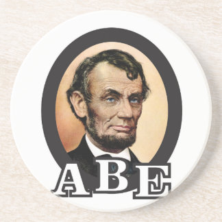 abe in an oval art beverage coasters