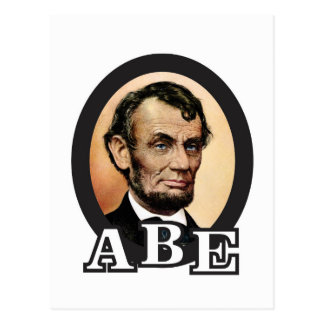 abe in an oval art postcard