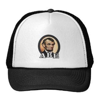 abe in an oval art trucker hat