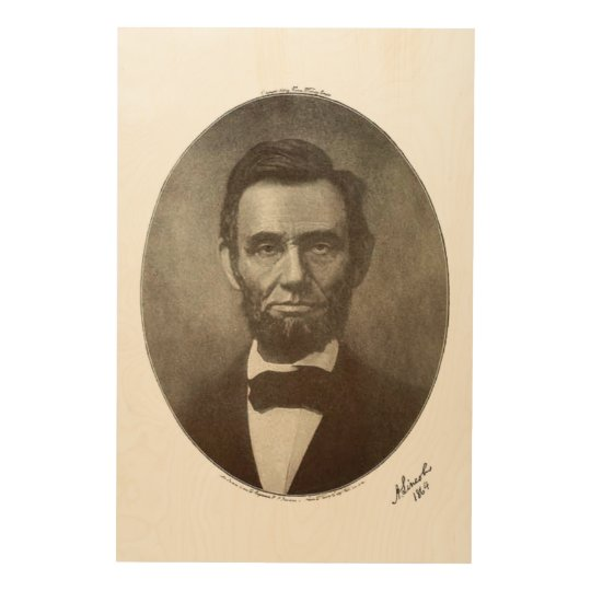 Abe Lincoln American President Vintage Portrait US Wood Wall Art