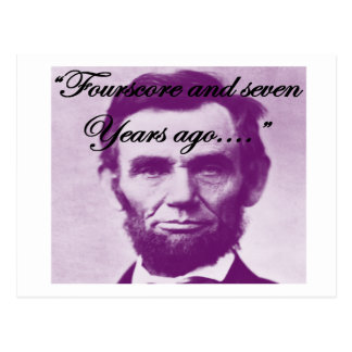 """Abe Lincoln """"Fourscore and Seven Years Ago"""" Postcard"""