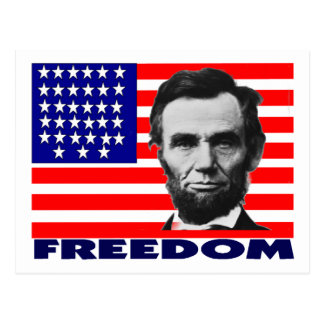 "Abe Lincoln ""Freedom"" Flag Art Gifts--Unique Postcard"