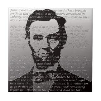 Abe Lincoln Gettysburg Address Ceramic Tile