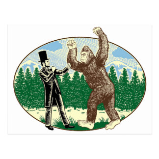 ABE LINCOLN: SASQUATCH HUNTER - Funny Bigfoot Logo Postcard