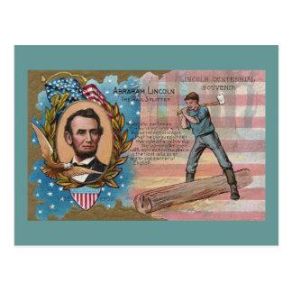 Abe Lincoln Splitting Rails Centennial Souvenir Postcard