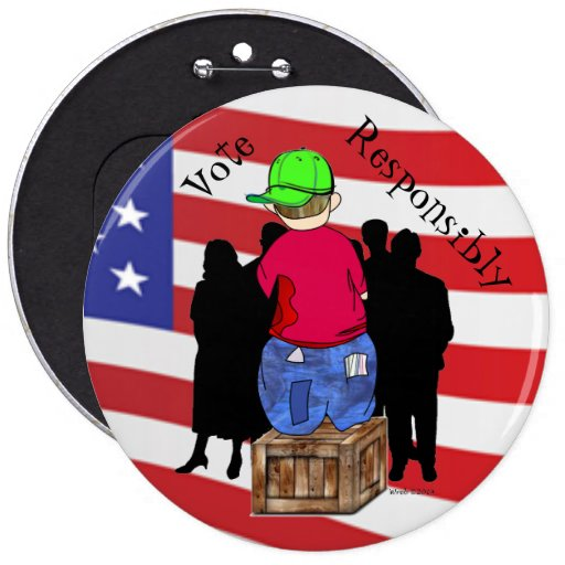 Abe R Doodle - Vote Responsibly Pinback Buttons