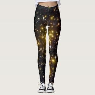 Abell 1689 galaxy gold stars NASA Leggings