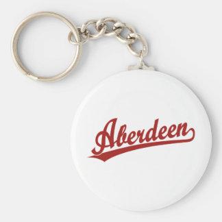 Aberdeen script logo in red keychain