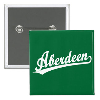Aberdeen script logo in white pinback buttons