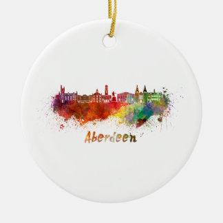 Aberdeen skyline in watercolor ceramic ornament