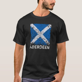 Aberdeen + Square Grunge Scottish Flag T-Shirt