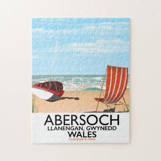 Abersoch Llanengan in Gwynedd, Wales travel poster Jigsaw Puzzle