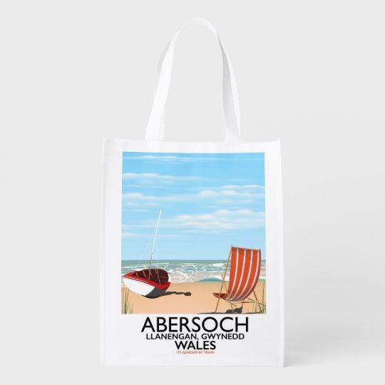 Abersoch Llanengan in Gwynedd, Wales travel poster Reusable Grocery Bag