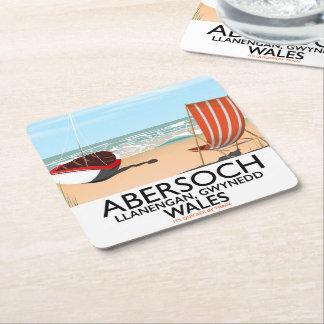 Abersoch Llanengan in Gwynedd, Wales travel poster Square Paper Coaster