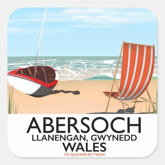 Abersoch Llanengan in Gwynedd, Wales travel poster Square Sticker