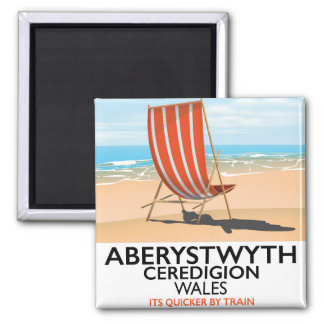 Aberystwyth Wales seaside travel poster Magnet