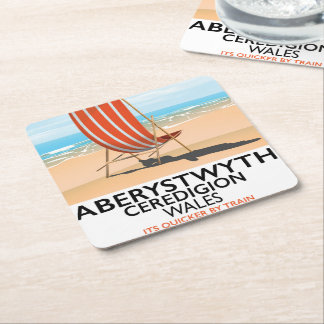 Aberystwyth Wales seaside travel poster Square Paper Coaster