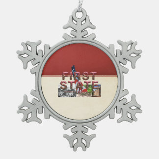 ABH First State Snowflake Pewter Christmas Ornament