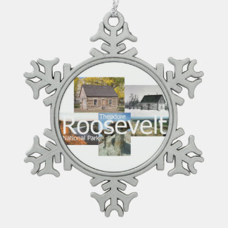 ABH Theodore Roosevelt NP Snowflake Pewter Christmas Ornament