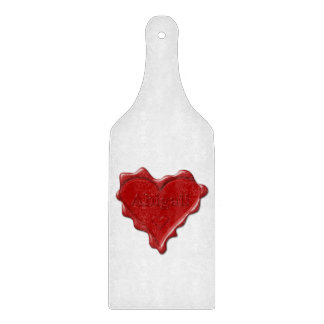 Abigail. Red heart wax seal with name Abigail Boards