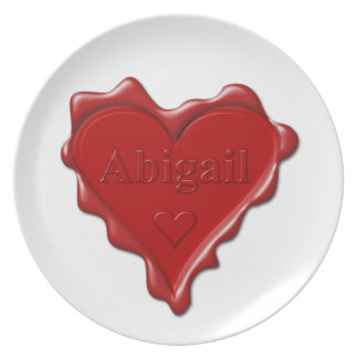 Abigail. Red heart wax seal with name Abigail Dinner Plates