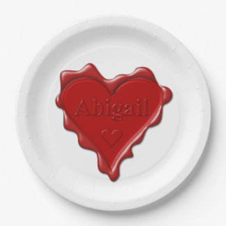 Abigail. Red heart wax seal with name Abigail Paper Plate