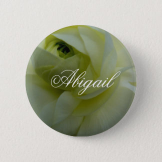 Abigail White Flower Name Badge 2 Inch Round Button