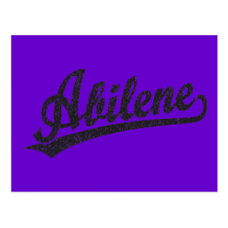 Abilene script logo in black distressed postcard