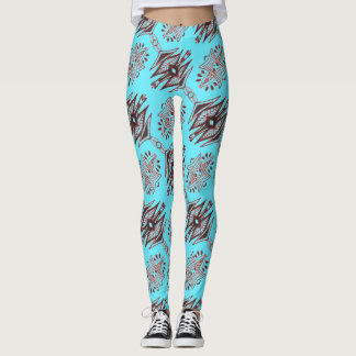 ABL - 088 - Turquoise and Brown - Leggings