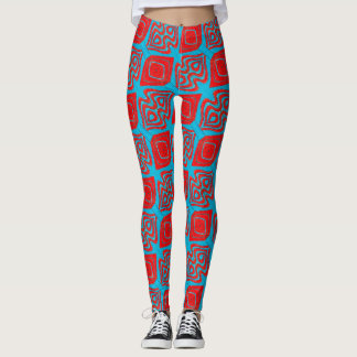 ABL - 127 - Cyan and Red - Leggings