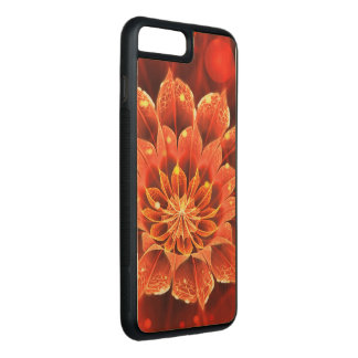 Ablaze in a Hot Ruby Red Dahlia Fractal Flower Carved iPhone 8 Plus/7 Plus Case