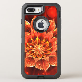 Ablaze in a Hot Ruby Red Dahlia Fractal Flower OtterBox Defender iPhone 8 Plus/7 Plus Case