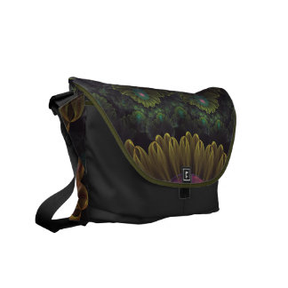 Abloom in Autumn Leaves with Faded Fractal Flowers Messenger Bags