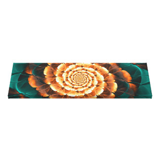 Abloom in Golden-Aqua Petals of a Fractal Sun Rose Canvas Print