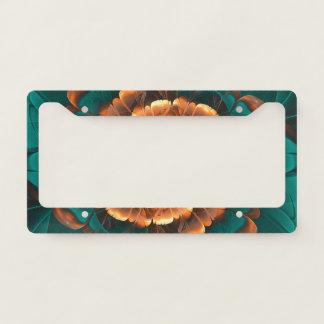 Abloom in Golden-Aqua Petals of a Fractal Sun Rose License Plate Frame