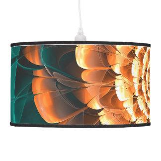 Abloom in Golden-Aqua Petals of a Fractal Sun Rose Pendant Lamp