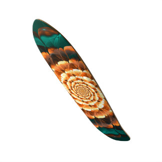 Abloom in Golden-Aqua Petals of a Fractal Sun Rose Skate Board Decks