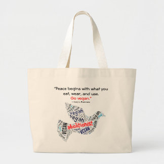 """Abolitionist Vegan"" Word-Cloud Dove & Quote Large Tote Bag"
