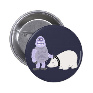 Abominable Snowman with Pet Polar Bear 2 Inch Round Button