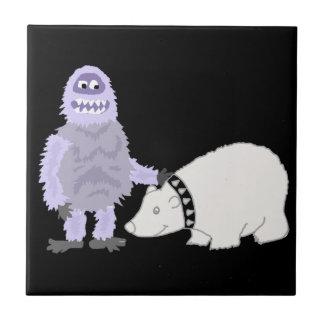 Abominable Snowman with Pet Polar Bear Tile