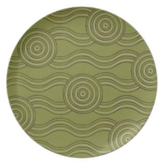Aboriginal art bush dinner plate