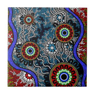 Aboriginal Art - Camping Ceramic Tile