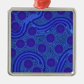 Aboriginal Art - Circles & Lines Metal Ornament