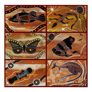 Aboriginal Art Collage Poster