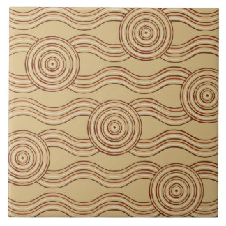 Aboriginal art earth ceramic tiles